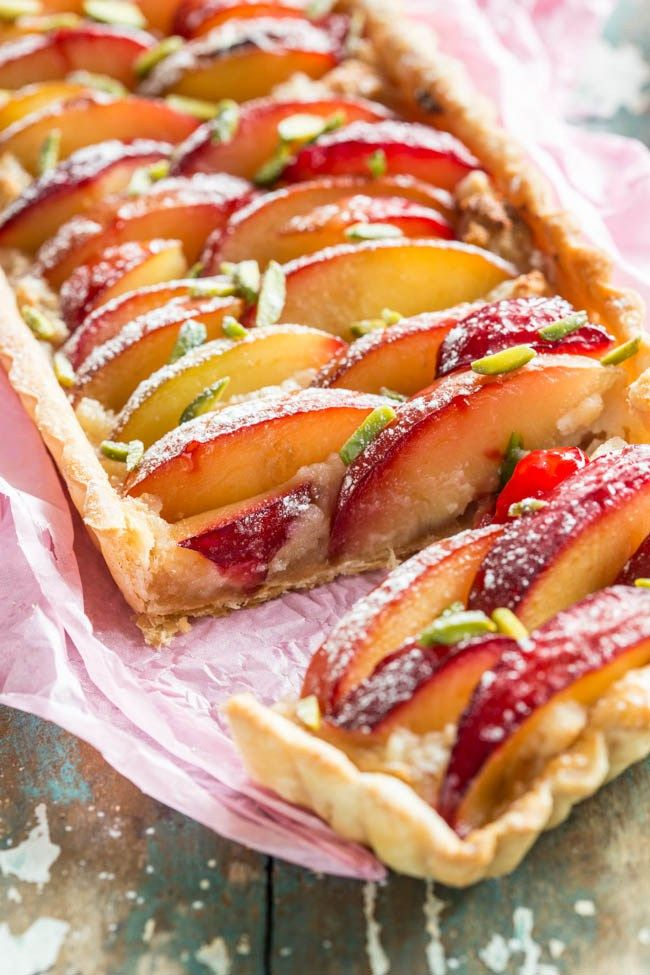 A delicious recipes with roasted marzipan and fresh plums; just before the last of the fruit bounty is gone till next season!