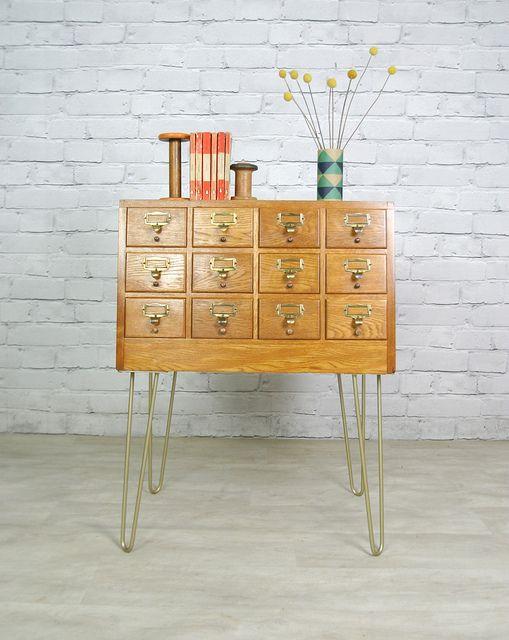 Vintage mid-century Oak libray index cabinet mounted on steel hairpin legs.
