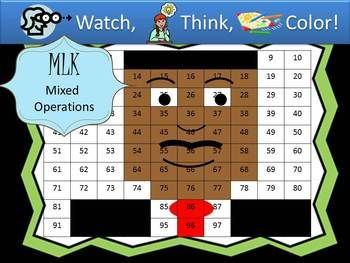 Watch, Think, Color! Students watch the board, think about the clues to figure out the number, and color the spot indicated. When they are finished, they have made a picture. In this version of the game, students must solve multiplication and addition problems to discover the number they need to color on their hundreds chart. Look for other versions of the game which reinforce place value, expanded notation, counting coins, reading number words, and more ...