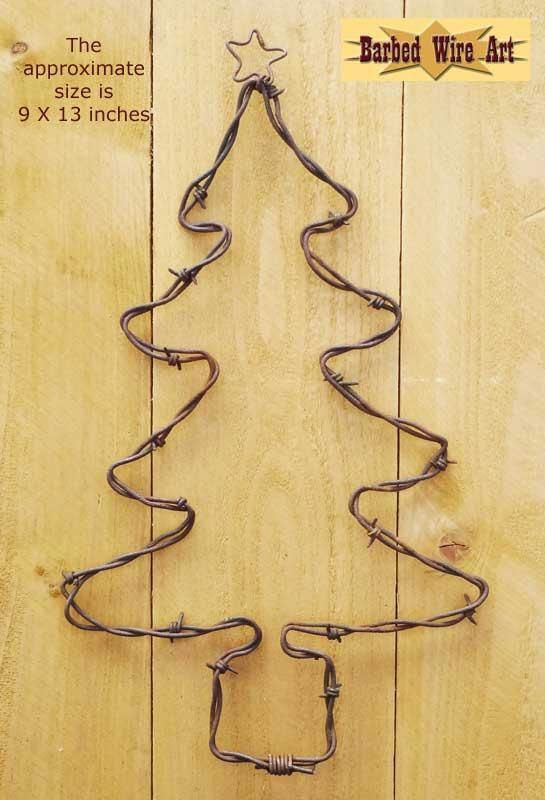 Christmas Tree - Handmade metal decor barbed wire art country