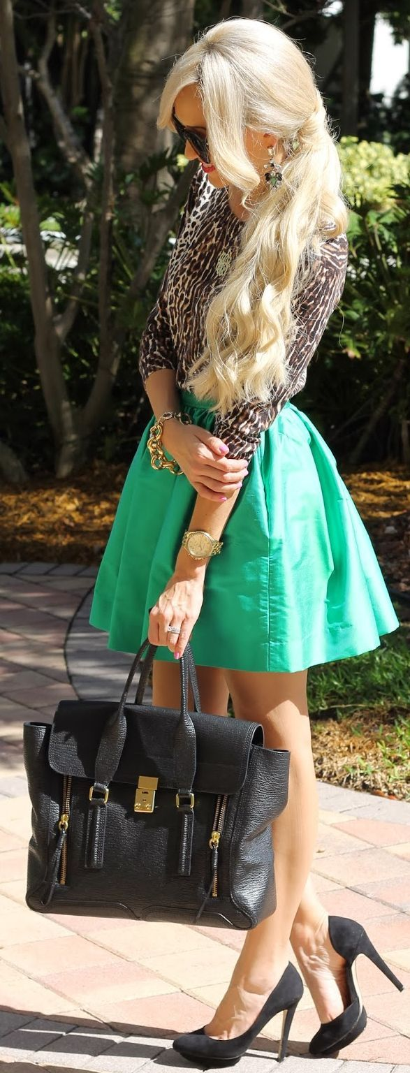 Modern Girl Shop Spring Green Skirt by A spoonful of Style