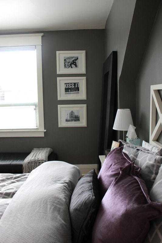 Adding purple to an asphalt grey bedroom