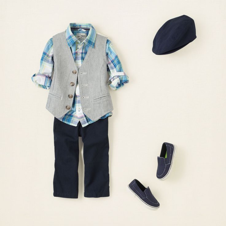 vest dressed  he'll be best dressed in our oxford vest! this dapper look also features a true blue plaid shirt and chinos for the perfect dressy outfit that's not stuffy. we add slip-on sneaks and a newsboy cap for little boy appeal.