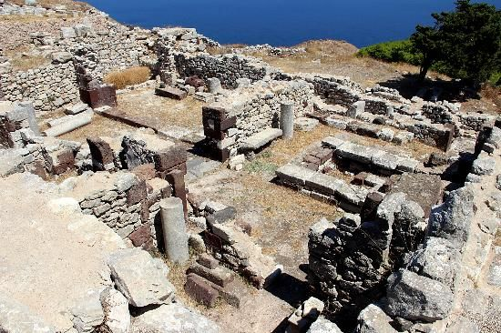 Ancient Thera - Kamari, Santorini, Greece - 11th century BC Dorian settlement includes remains from Hellenistic, Roman, and Byzantine periods