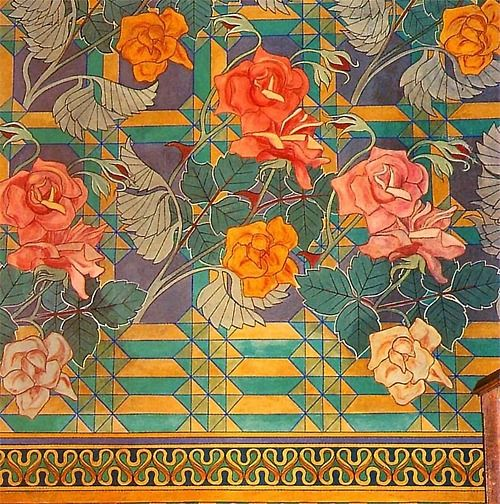 Stanisław Wyspiański. Rose design, 1895. (via: the textile blog)