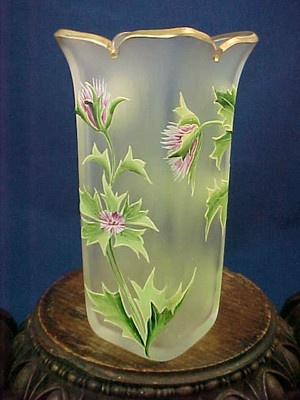 Antique Bohemian Satin Cut Hand Painted Enamel Purple Clover Vase