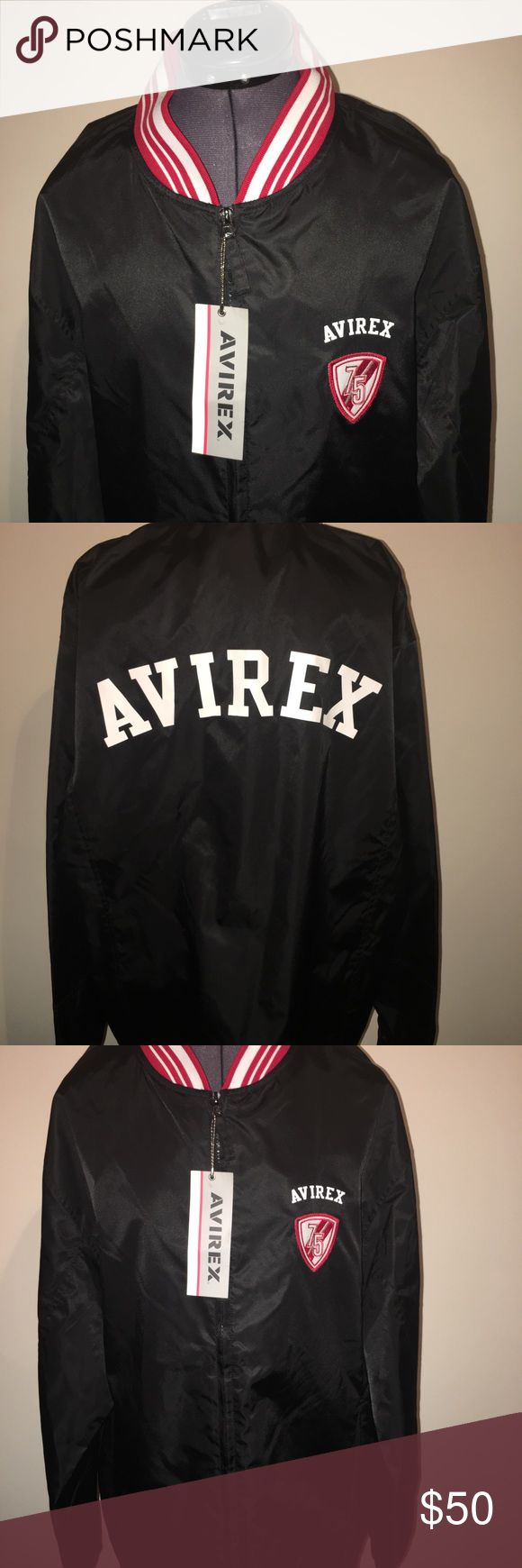 New Men's 1975 Avirex Jacket Large 😎😎 Hey guys check out this classic throwback! In this listing you are purchasing a brand new men's red, white & black 1975 Avirex Jacket! This guy is brand new with tags and ready to be worn! The outside is 100 % Nylon — the crunchy track jacket type material and the inside lining is 100 % polyester! Guaranteed to sell fast! 😎😎 Avirex Jackets & Coats Lightweight & Shirt Jackets