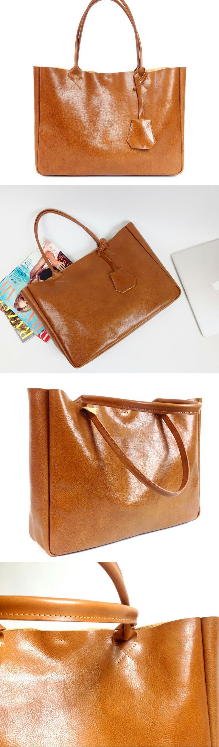 Handmade leather tote bag. Everyday leather handbag.