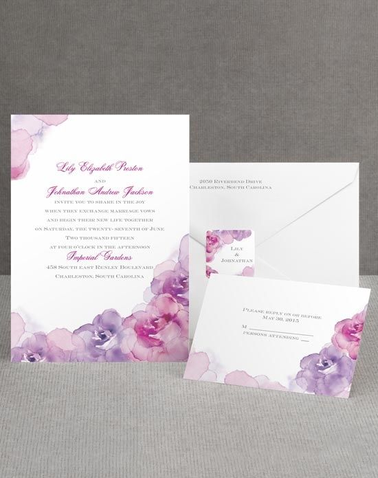 colorful flower wedding invitations - Google Search