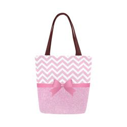 Pink Glitter, Pink Chevron, Pink Bow Canvas Tote Bag (Model 1657)