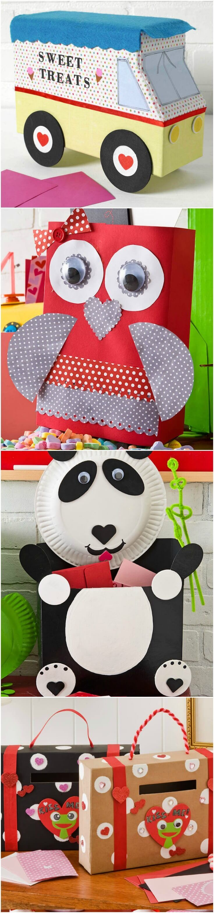 A collection of 8 creative and fun ideas for valentine boxes! Perfect for classroom, parties, home, and more - your kids will love these. via @modpodgerocks