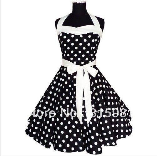 Halter zwart wit polka dot 50 60's rockabilly kleding pin ups swing jurk alle maten xs s m l xl xxl 3xl 4xl