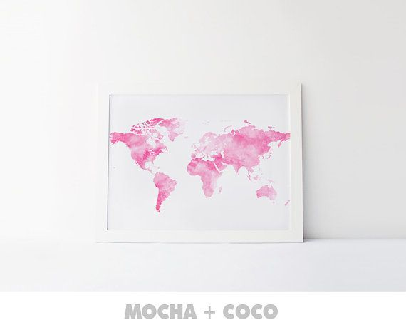 Watercolor World Map Poster | Travel Print, Office Decor, Travel Art, Kids, Nursery, Printable Mocha + Coco, Intstant PRINT FILE DOWNLOAD