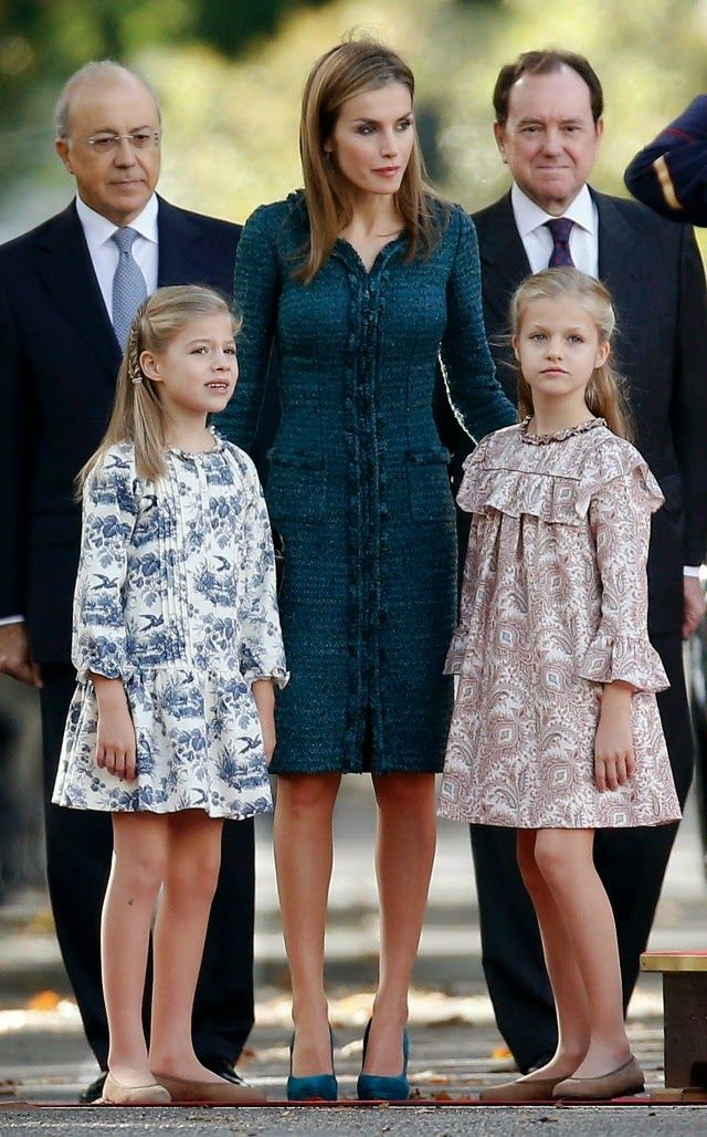 OooMyRoyals:  Spanish Royal Family attends National Day, Madrid, Spain, October 12, 2014-Queen Letizia with her daughters Infanta Sofía and Infanta Leonor