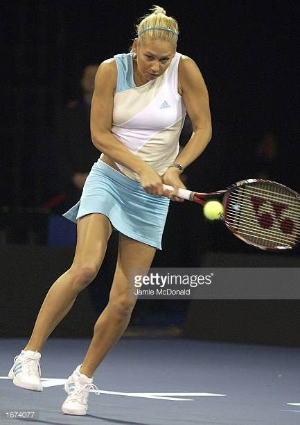 Anna Kournikova of Russia during her match against Monica Seles of USA during the Collins Cup at the RDS Simmonscourt Dublin Ireland on December 5...