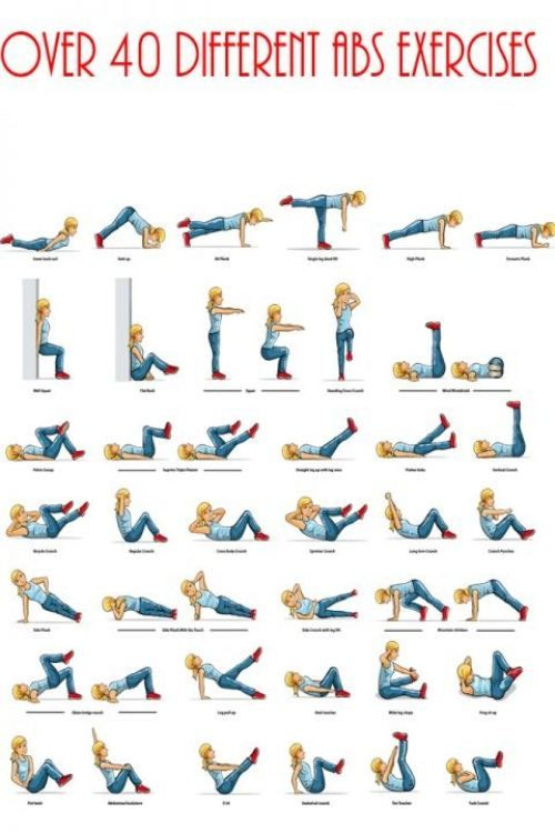 wish the pics were bigger but ive done all these at some point, great refrence Over 40 different abs exercises