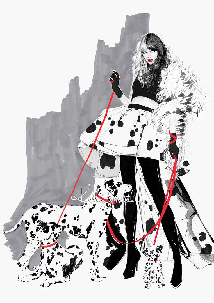 """Cruella De Vil"" illustration by Kelly Smith at Birdy & Me"
