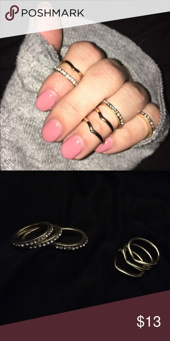 Chevron and Rhinestone Midi Ring Set 6 rings in the set: 3 rhinestone bands and three chevron bands. No stones missing. All will fit a size 6 or 7 hand. Jewelry Rings
