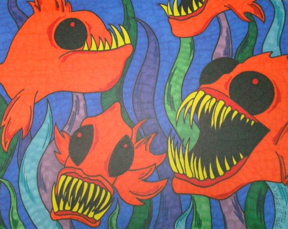 Colorful Pirahna Fish and Seaweed 9x12 Sharpie Drawing Original Fish Artwork Wall Decor Seaweed Gift Idea Orange Fish Macabre and Horror
