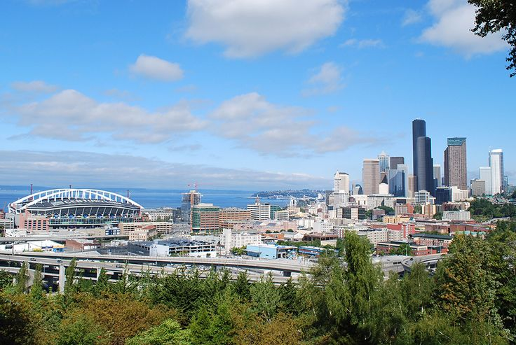 The view of downtown Seattle from Rizal Park on Beacon Hill.