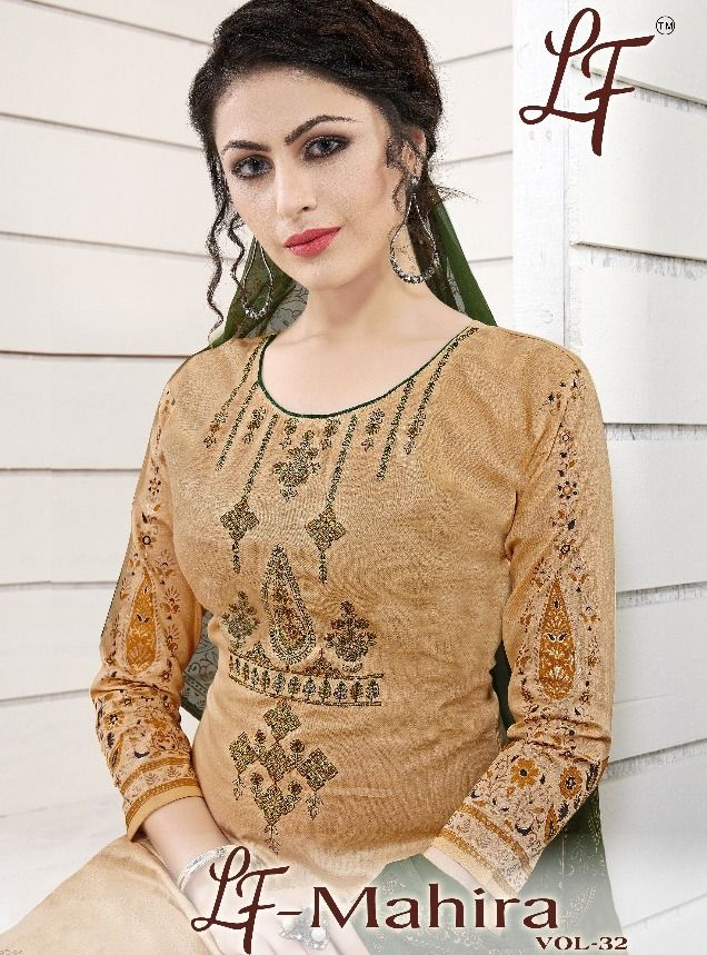 8be00adc4e LAVLI FASHION MAHIRA VOL 32 PRINTED GLACE COTTON WITH EMBROIDERY WORK DRESS  MATERIAL AT WHOLESALE RATE
