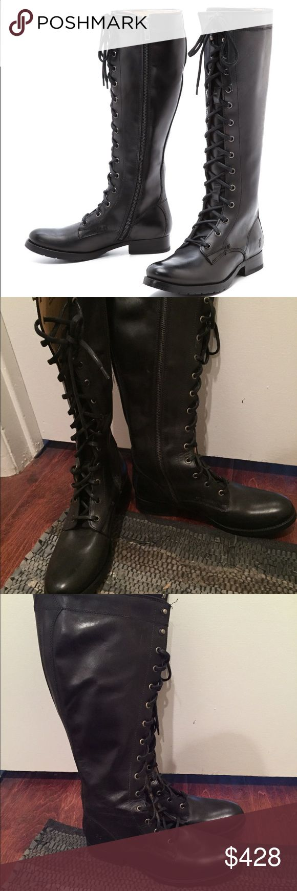 New Frye Melissa tall boot New without box Frye Melissa tall lace up boot. Combat style knee-high boot. Size 8, Made in Mexico Frye Shoes Combat & Moto Boots