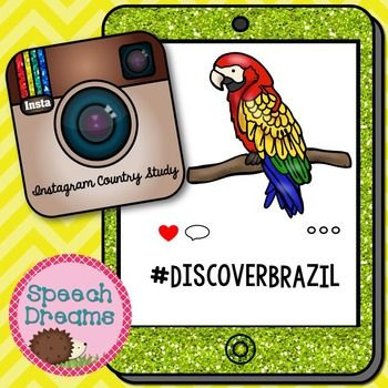 Brazil country study with a fun Instagram feel to it!  What a cute way to teach your students facts about Brazil and let them pretend they are using Instagram at the same time!  Let your student color the image pertaining to important facts about Brazil.