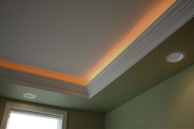 Crown Molding Lighting False Ceiling Living Room Crown Molding Lights Ceiling Design
