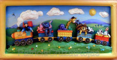 Patricia Cruzat Artesania y Color: Tren con Animales - 80x45cm