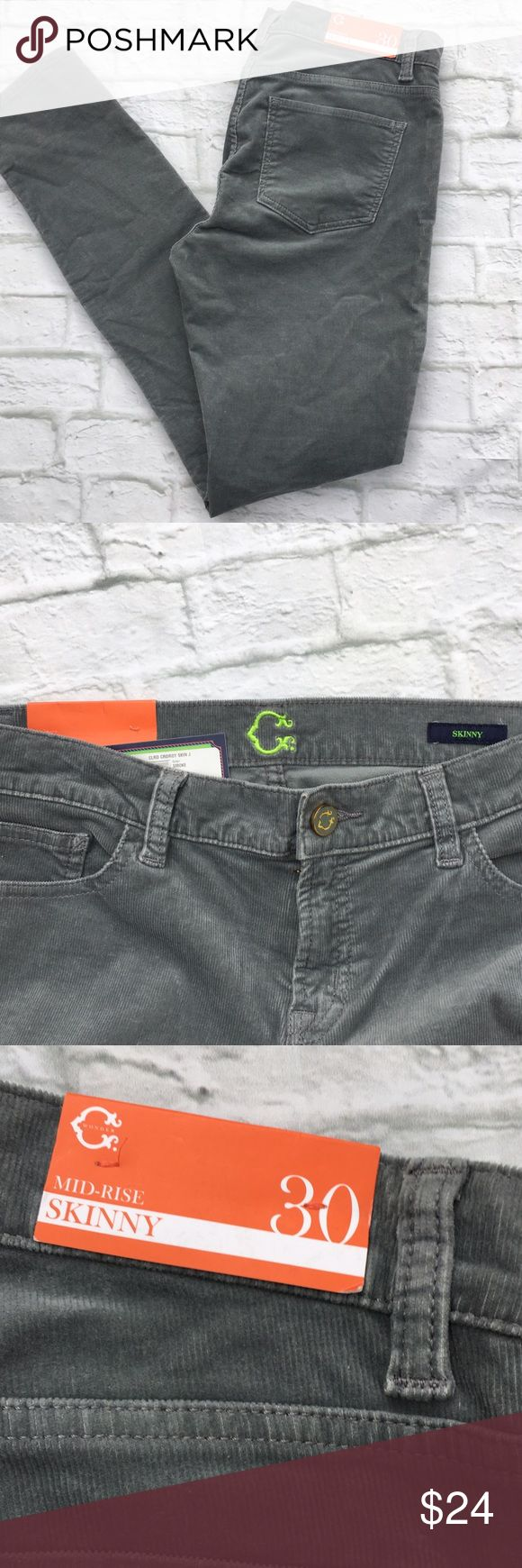 "C Wonder Corduroy Skinny 30 C Wonder 30 Mid-rise skinny cord NWT Grey All measurements taken with item laying flat across front: 17"" waist 9"" rise 31.5"" inseam No trades OFFERS always welcome C Wonder Pants Skinny"