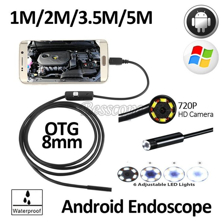 2MP 8mm Endoscope Cam 1 to 5 m Flexible Snake USB Android Phone