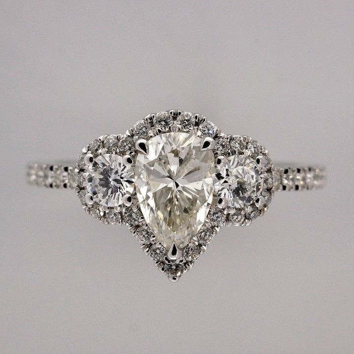 Engagement 59ct Vintage Pear Shaped Sylvie Halo Three Stone Ring