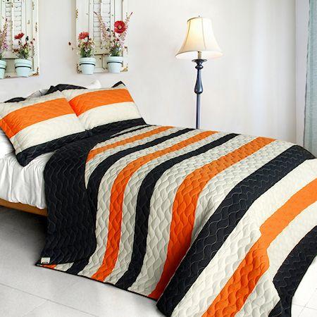 95.    Modern Black White Orange Teen Boy Bedding Full/Queen Striped Quilt Set Oversized Cotton Bedspread