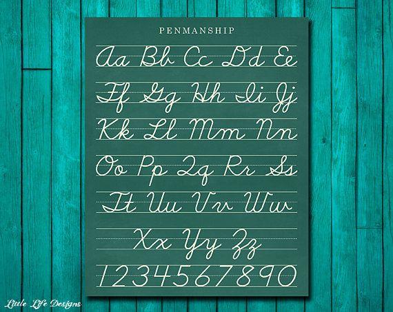Classroom Decor. Cursive Alphabet Letters. Classroom Sign.