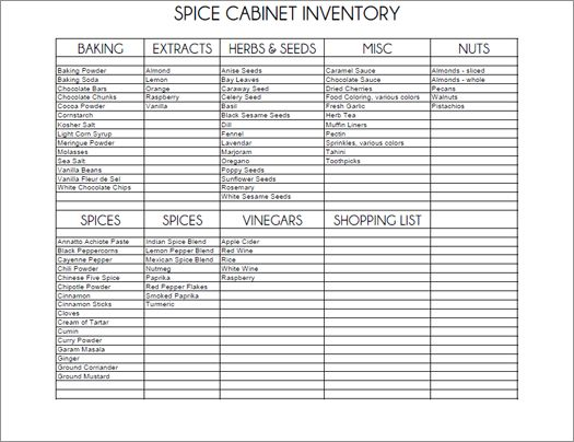 Printable Spice Cabinet Inventory Spice Cabinet Spice