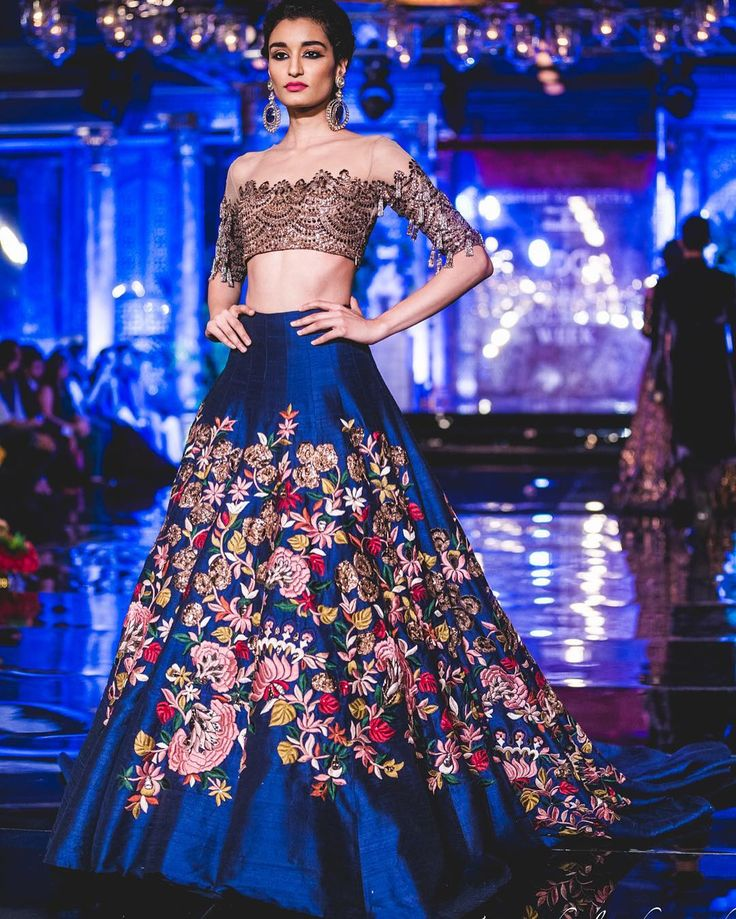 One of our favourites from the @manishmalhotra05 @mmalhotraworld show #icw2016 last night was this off shoulder blouse with an ink blue skirt   Shot by @tarunchawlaphotography   Full post on WedMeGood soon   Live show on snapchat  #Lehenga #blue #Manishmalhotra #icw2016 #inkblue #offshoulder #bridal #bride #brides #indianwedding #wedding #weddingday #engagementoutfit #fashion #indianwear #indianfashion #coutureweek