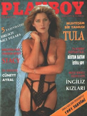 Playboy Turkey January 1991 Cover featured by Caroline Cossey (Tula)