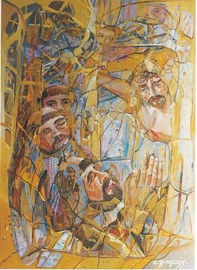 Carlo Fantauzzi ‒ «Ακούγοντας με τα χέρια», «Terremoto Ad Assisi» (Σεισμός στην Ασίζη), μικτή τεχνική σε καμβά, 50Χ70 εκ.  Πηγή: Elio Mercuri, Carlo Fantauzzi, Monti Tipografia, 2000, σελ. 42.