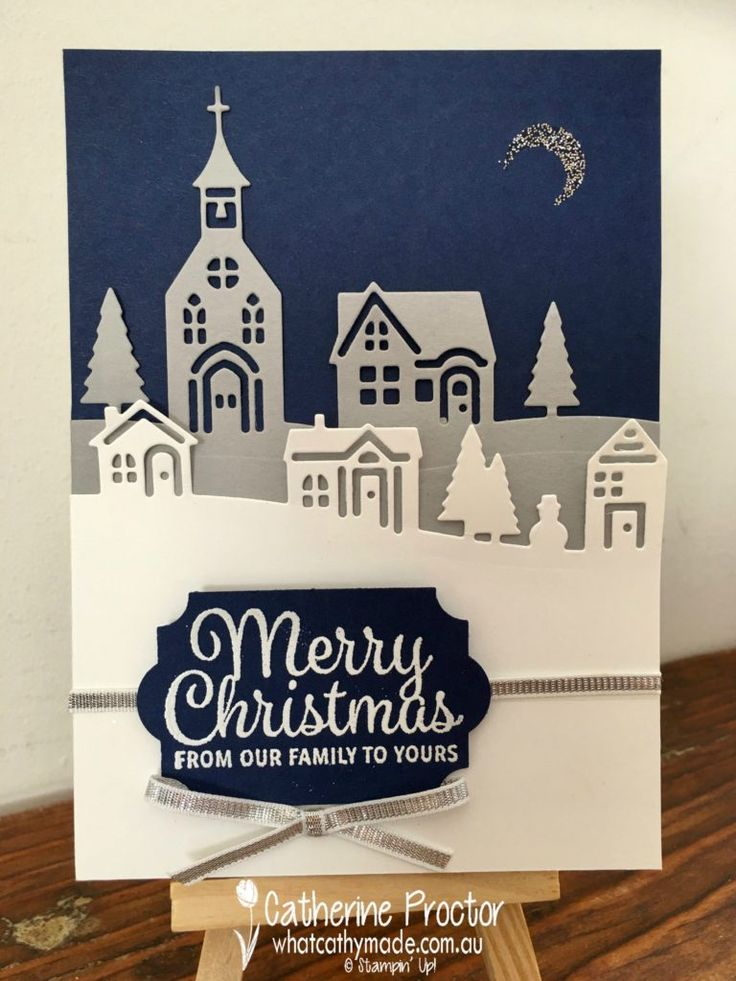 "Hometown Greetings Edgelits, Hearts Come Home (moon), Snowflake Sentiments, Everyday Label punch, Silver 1/8"" Ribbo, White embossing powder, Silver Glitter - Art With Heart Blog Hop Holiday Catalogue Inspiration 08/24/2017"