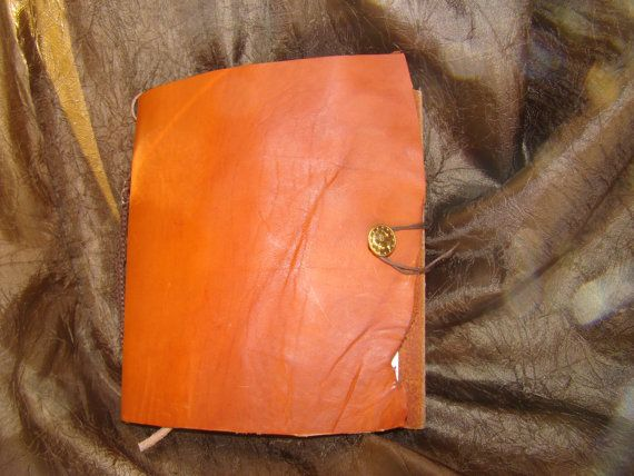 Handmade Thick Leather Journal  Antique Button by BuddhaWoodha, $20.00