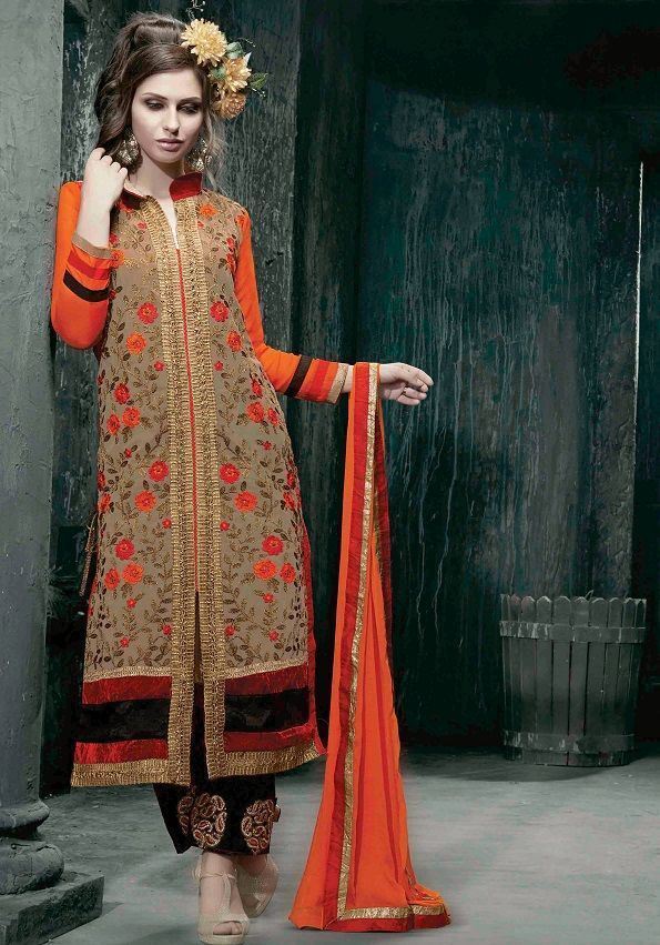 9b58ceb9b9 Beige Orange Neem Zari Embroidered Churidar Online Shopping : GSL2106 | Salwar  Kameez | Salwar suits, Churidar suits, Pakistani suits