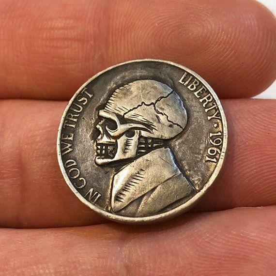Hand Carved Skull Hobo Nickel Coin Art