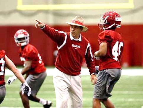 Coach Saban and players practicing indoors. It's Spring in Tuscaloosa. Roll Tide. RollTideWarEagle.com sports stories and free football tutorial that inform and entertain. Check it out. It's new. #Alabama