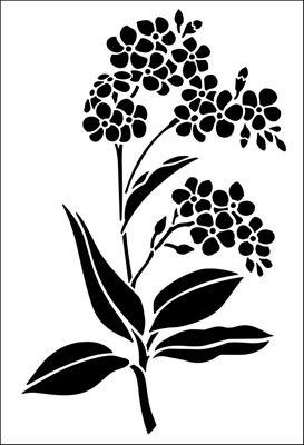 Forget-Me-Not stencil from The Stencil Library GARDEN ROOM range. Buy stencils online. Stencil code GR20.