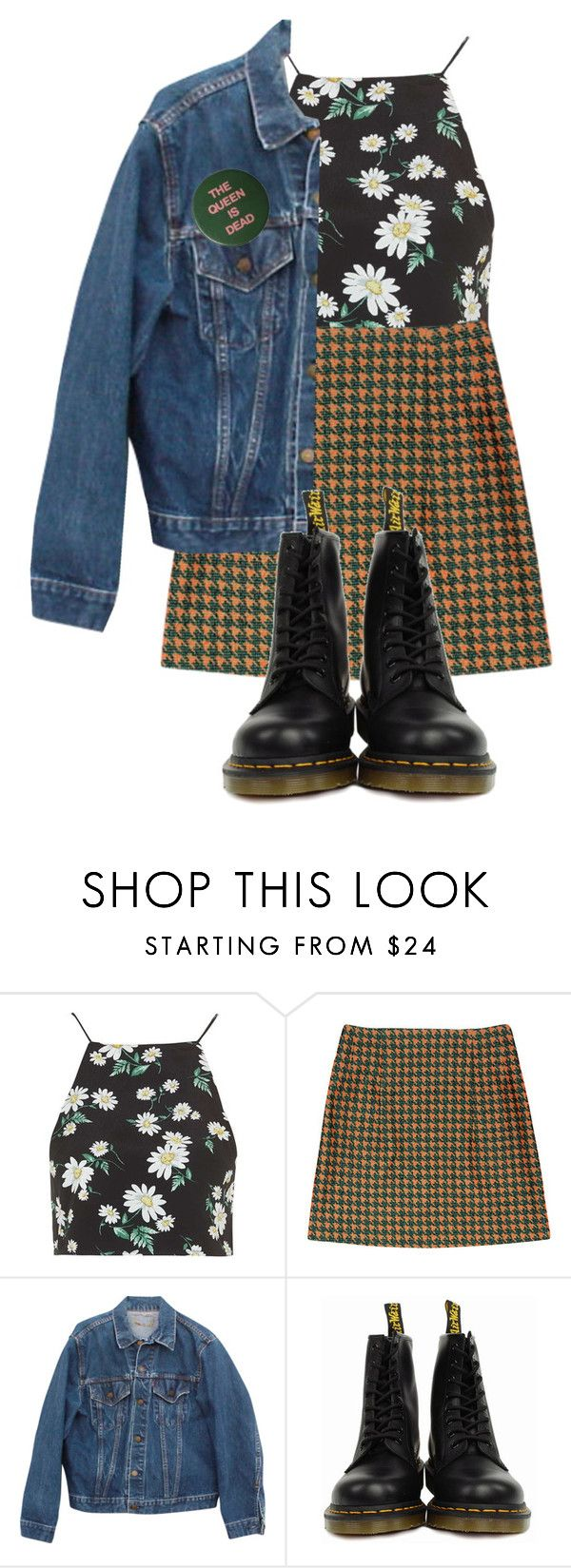 """Untitled #18"" by idilized ❤ liked on Polyvore featuring Topshop, Levi's and Dr. Martens"