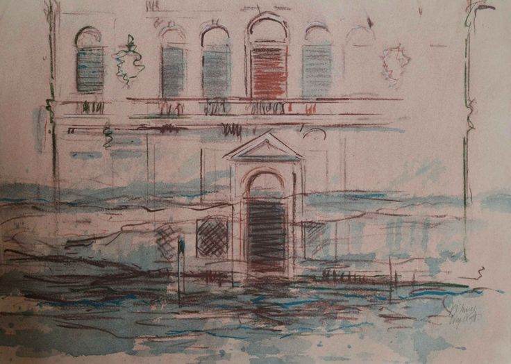 Palazzo, north end of grand canal, Venice. watercolour, ink and pastel on paper, 18 x 13 inches.