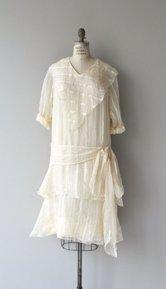 Vintage 1920s cream silk organdy dress with tonal stripes, oversized bib collar, long sleeves (shown rolled up), dropped waist, tiered skirt and silk