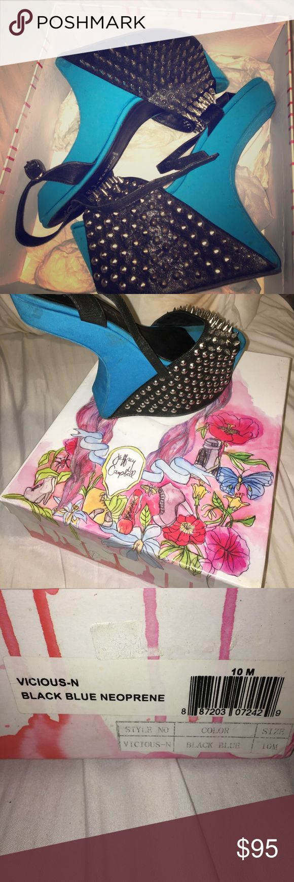 Jeffery Campbell's vicious spike heel Black blue neoprene spiked heels Jeffrey Campbell Shoes Heeled Boots