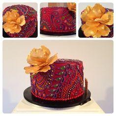 Henna Cake - by CallejaCakes @ CakesDecor.com - cake decorating website