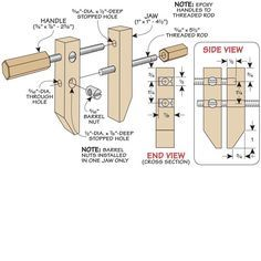 DIY wood clamp plan, straight forward and very handy